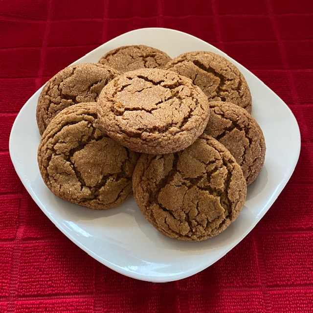 best soft gingerbread cookies on a white plate on a red towel
