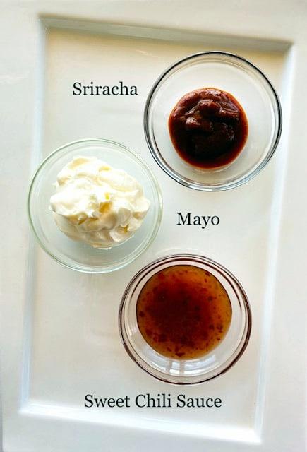 Bang-Bang-Sauce-ingredients-in-bowls-mayonnaise-sriracha-sweet-chili-sauce