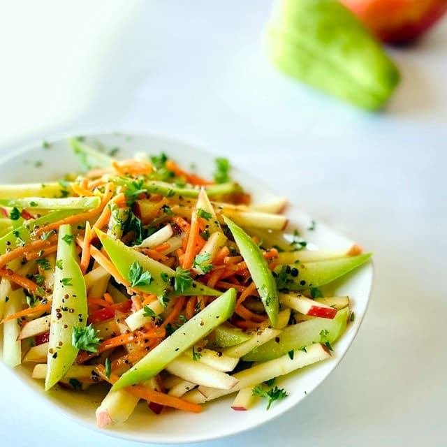 Chayote-Squash-Salad-with-Vinaigrette-Dressing -chayote and apple in background