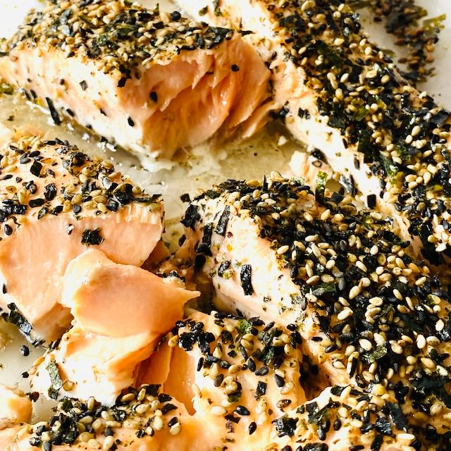 Furikake-Salmon-3-pieces-on-baking-dish