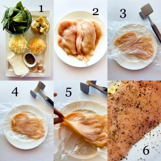 Spinach-Artichoke-Chicken-process shots