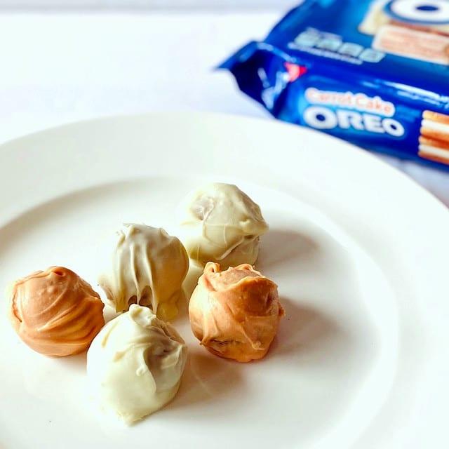 Carrot-Cake-Oreo-Truffles-on-plate-oreos-in-background