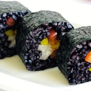 black-rice-sushi-peppers-red-yellow-jicama