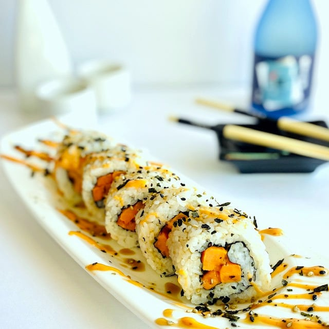 sweet-potato-roll-blue-sake-glass