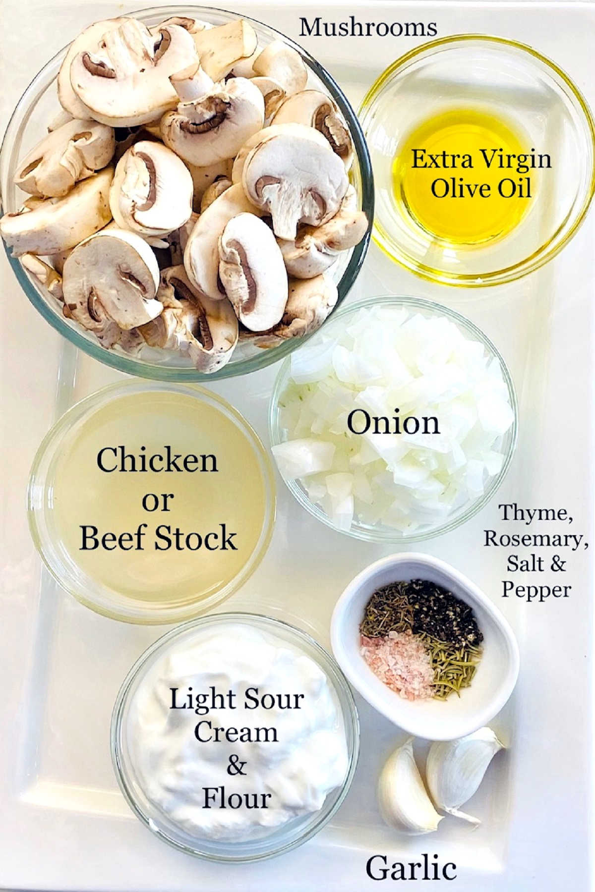 Labeled photo of individual ingredients to make healthy mushroom soup