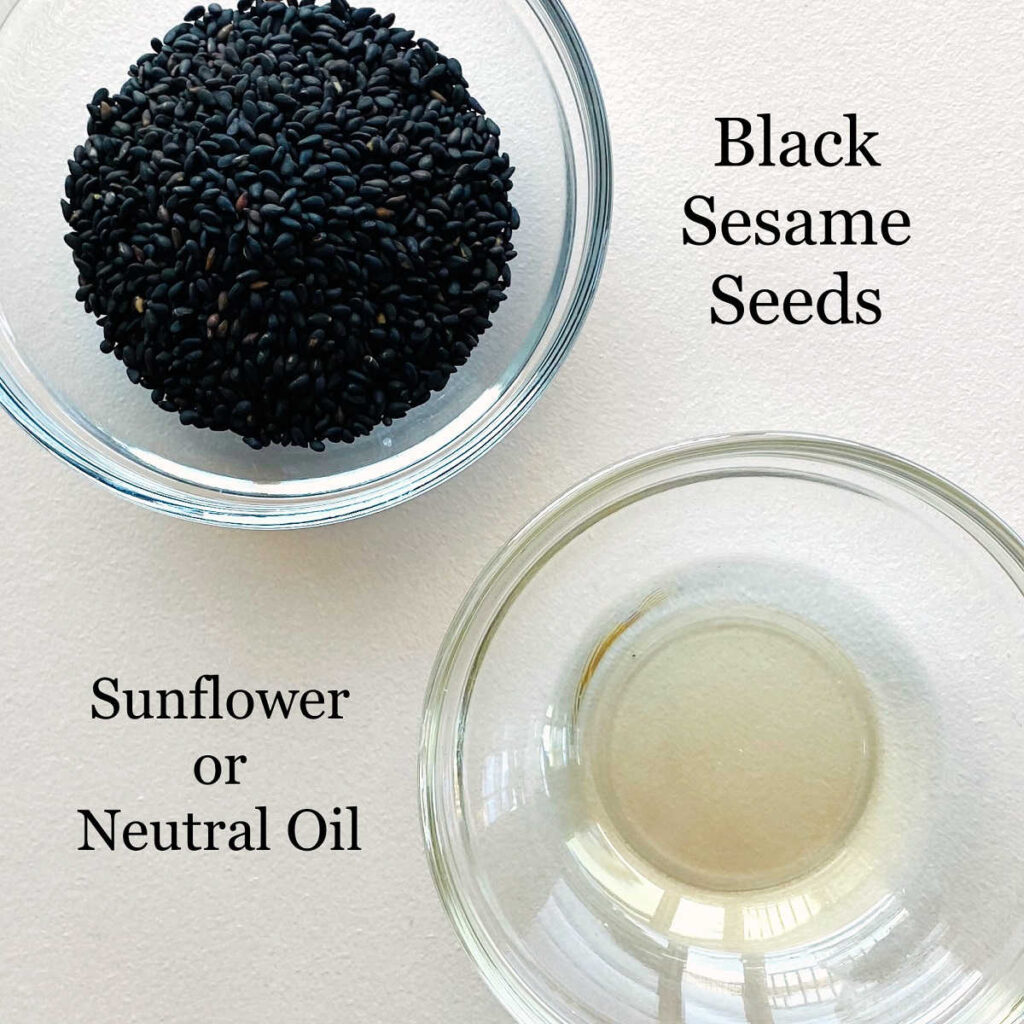 labeled photo of individual ingredients to make black sesame paste tahini