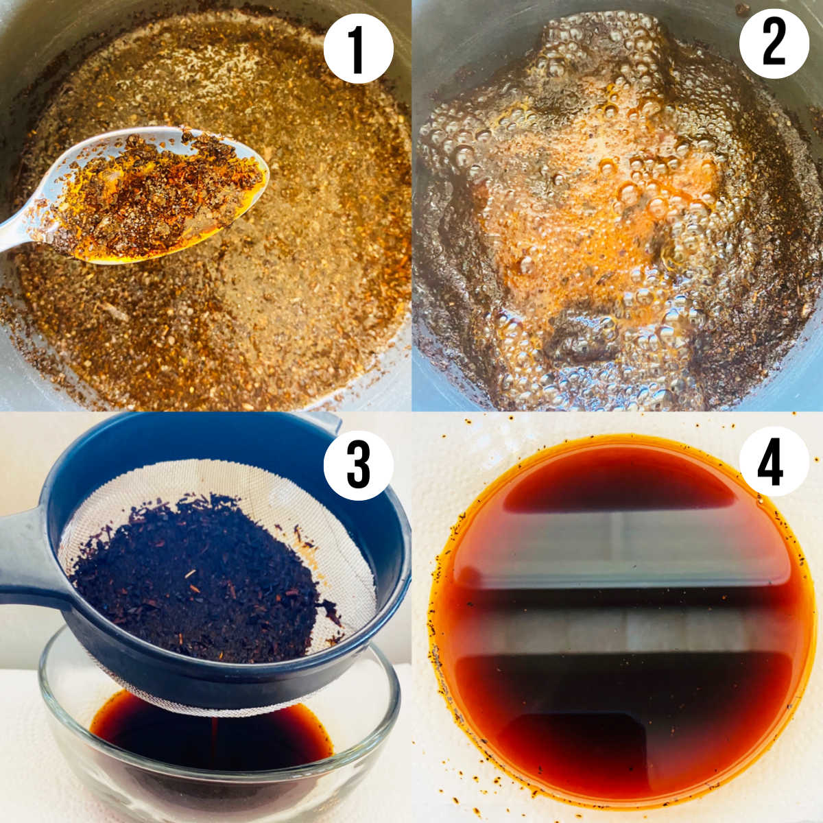 thai tea ice cream process shots 1-4