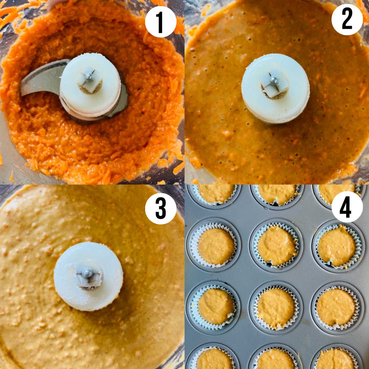 banana carrot muffins process shots 1-4