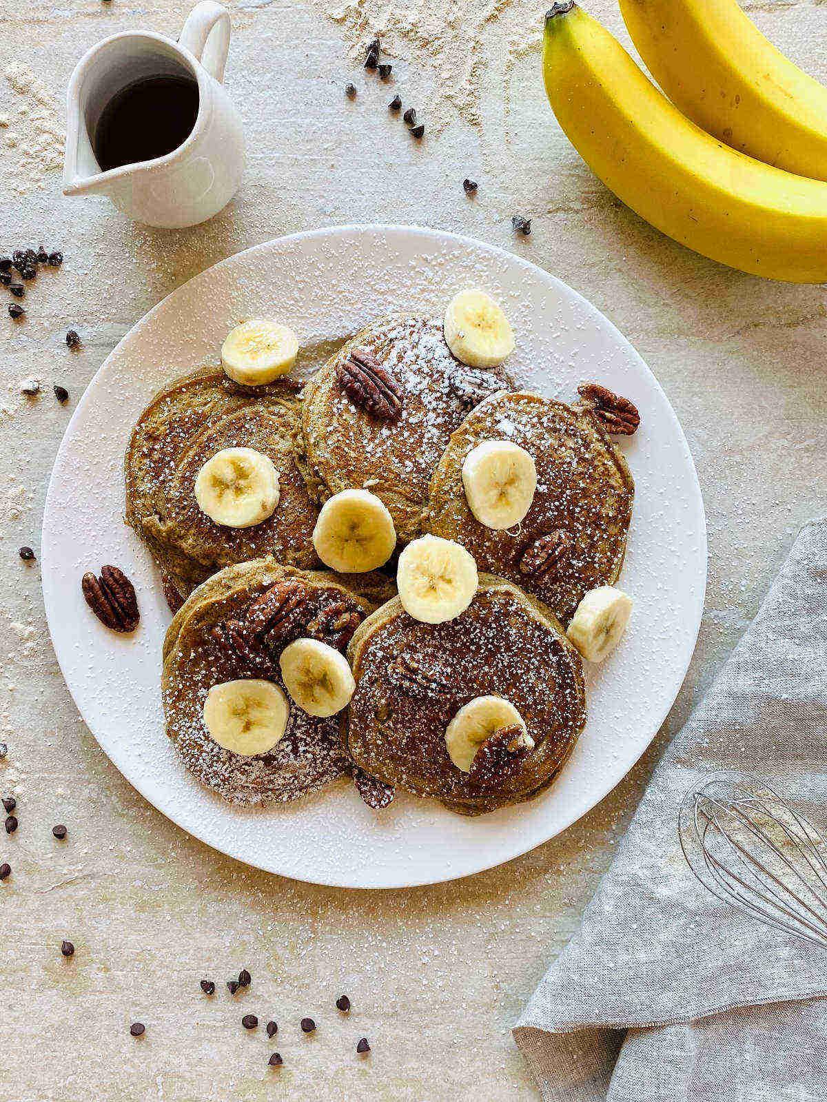 banana flour pancakes on plate