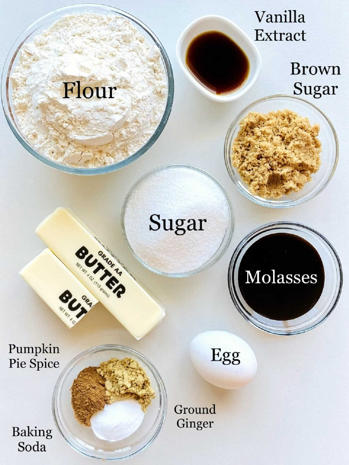 labeled photo of individual ingredients to make soft gingerbread cookies