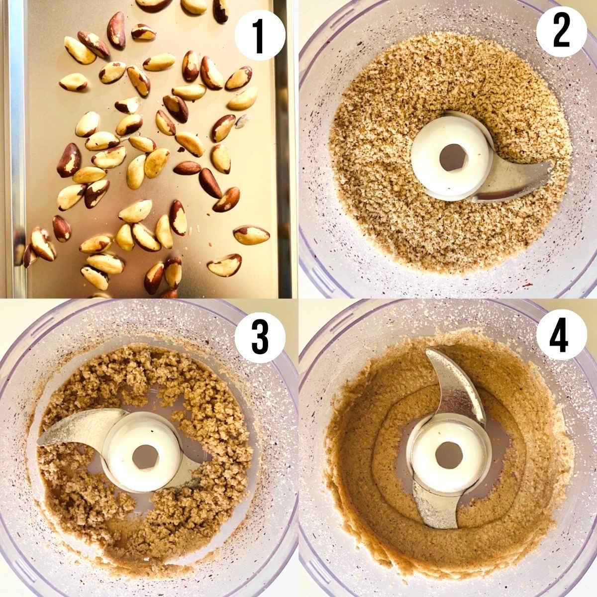 brazil nut butter process shot steps 1 through 4
