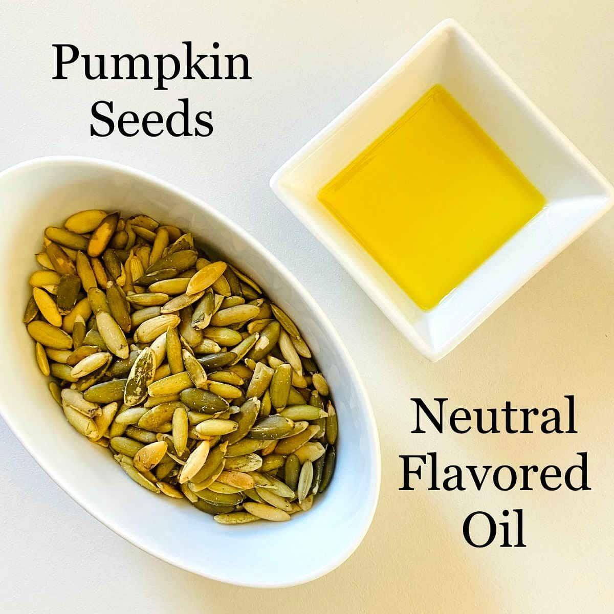 labeled photo of ingredients to make pumpkin seed butter