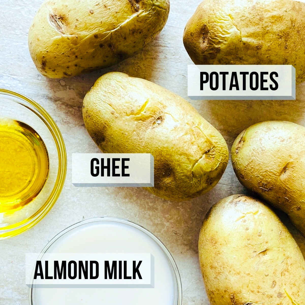 labeled photo of ingredients to make whole30 mashed potatoes