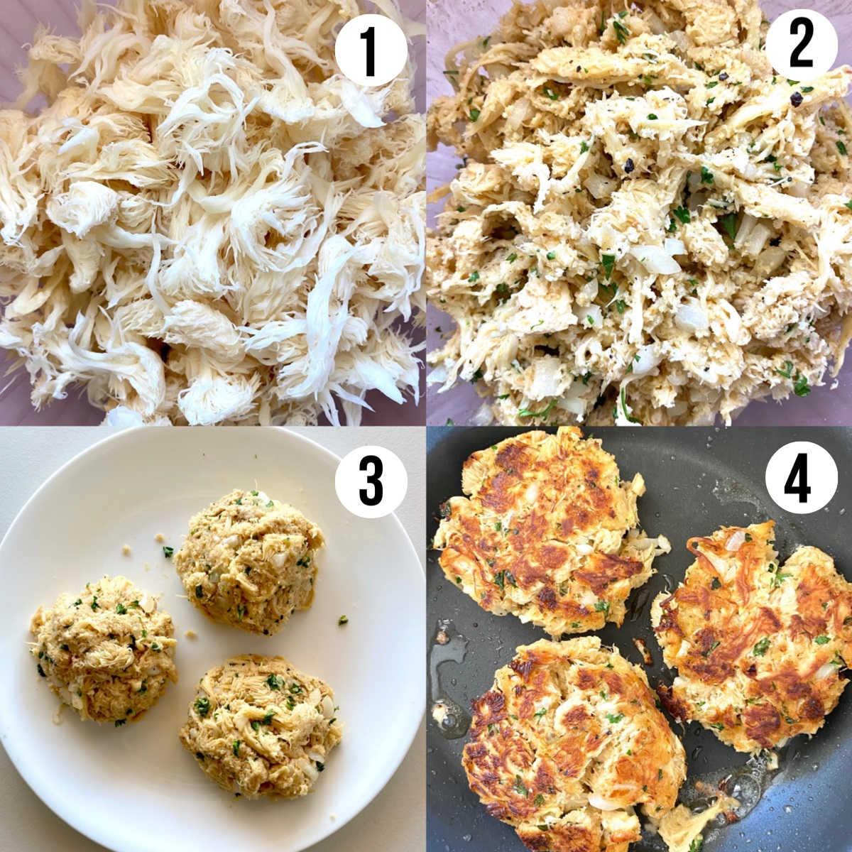 lions mane mushroom crab cakes process shots 1 through 4