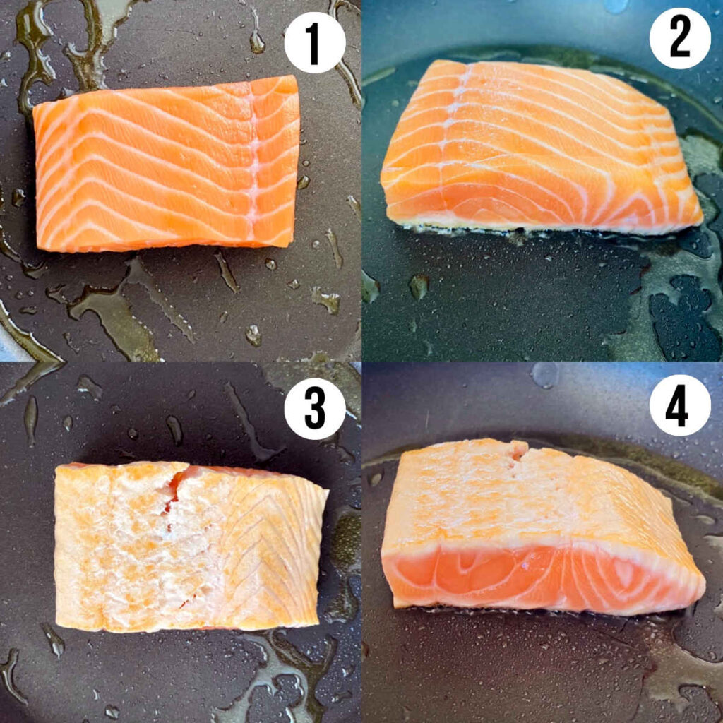 salmon tataki process shots 1 through 4