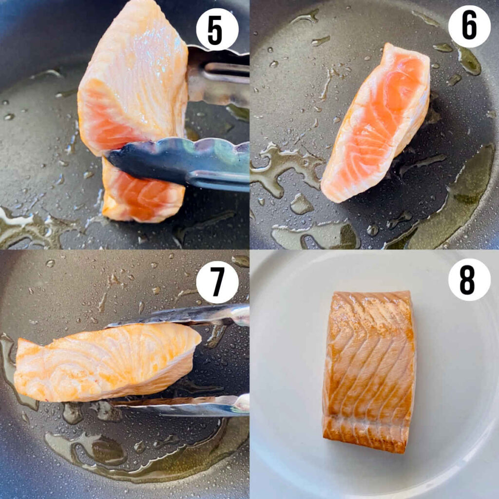 salmon tataki process shots 5 through 8