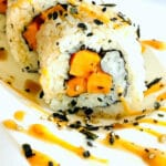 sweet potato sushi roll on plate close up