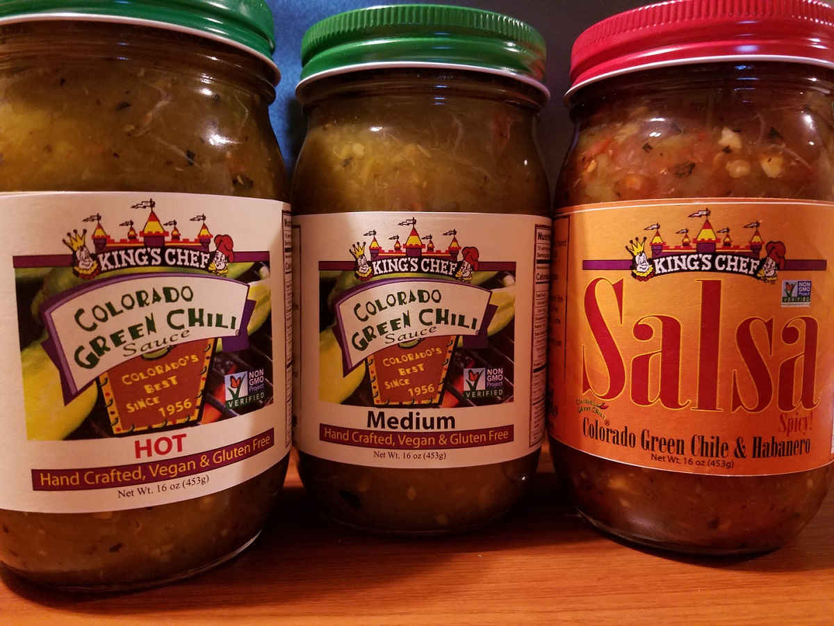 three bottles of King's Chef Colorado Green Chile selection