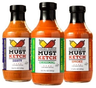 3 bottles of mustketch sauces