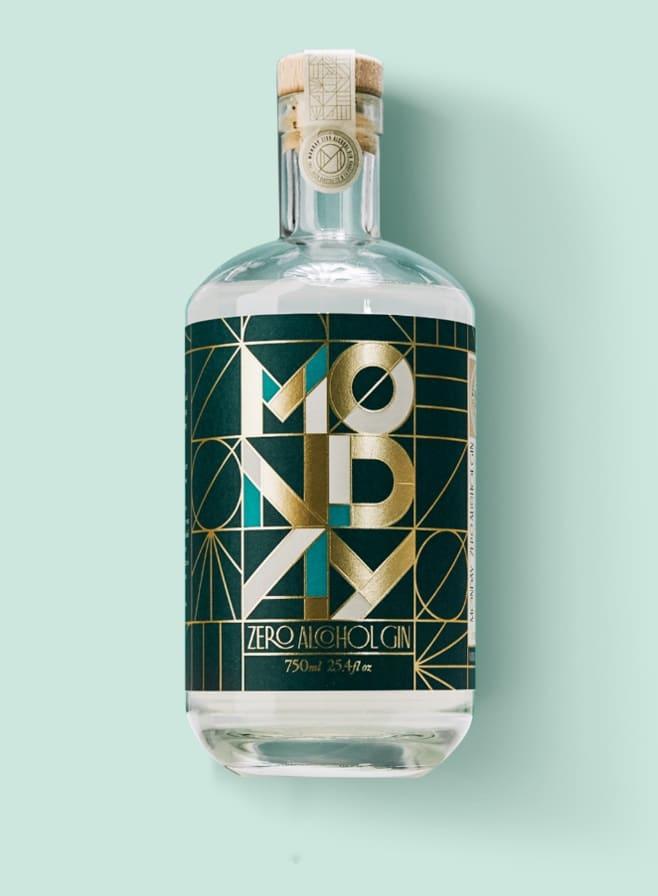 bottle of monday zero alcohol gin