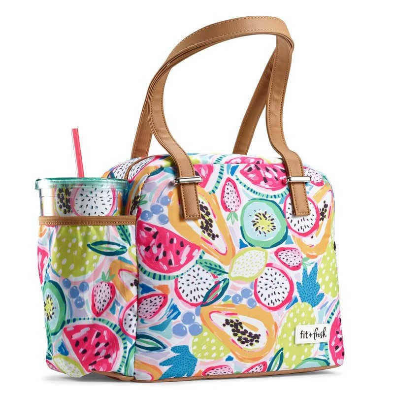 fit and fresh lunch bag with reusable plastic cup in pocket of the bag