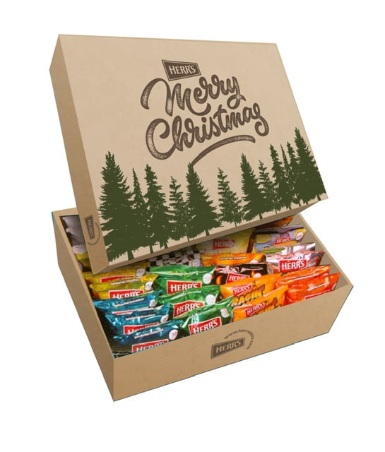 holiday variety box of assorted potato chip snack bags