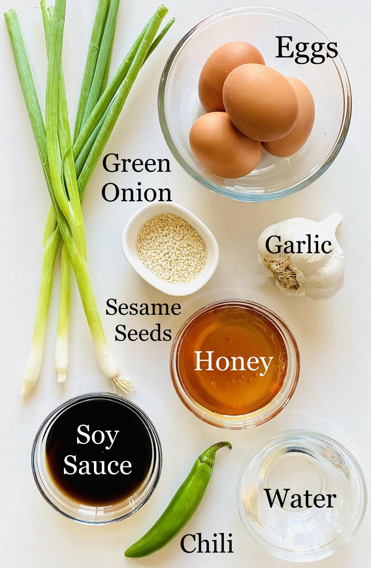 labeled photo of individual ingredients to make mayak eggs