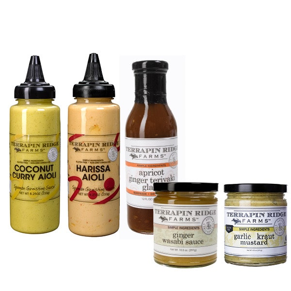 5 different flavor sauces and dips from terrapin ridge gift set