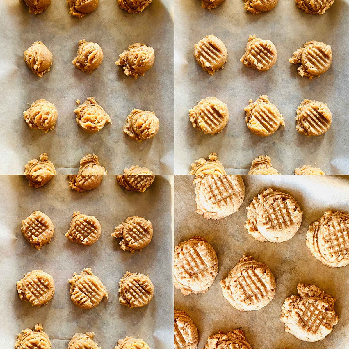 almond flour peanut butter cookie process shots
