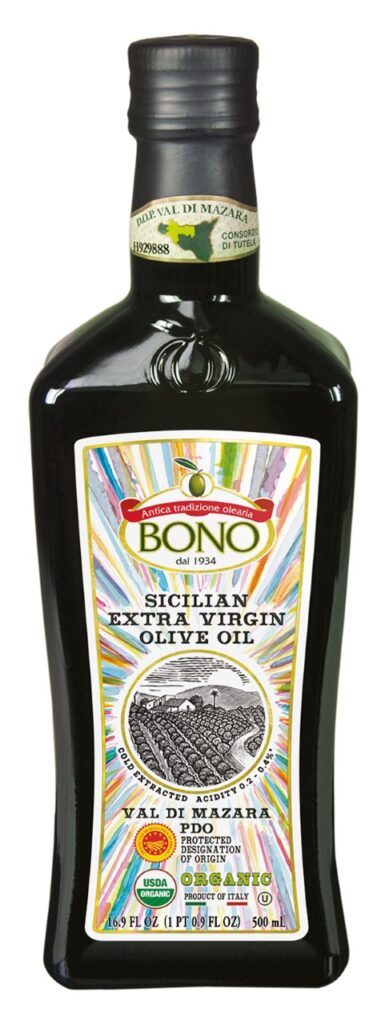Bottle of bono Sicilian extra virgin olive oil