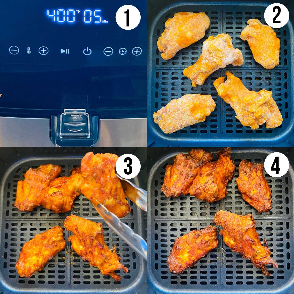 cooking frozen chicken wings in air fryer process shots 1 through 4