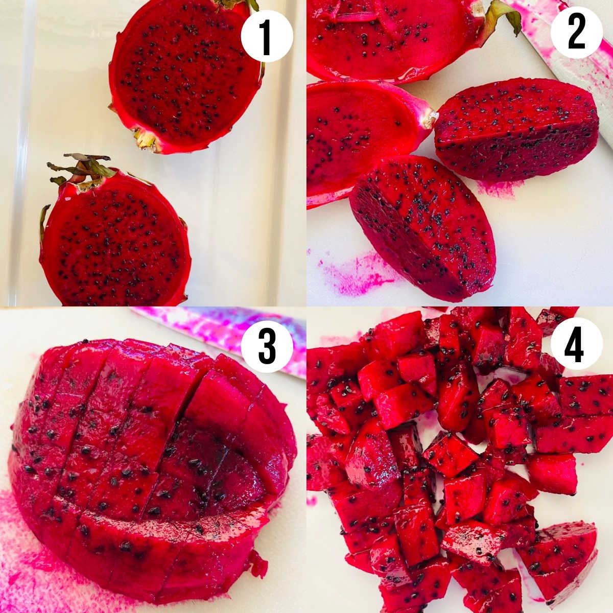 how to cut a dragon fruit process shots 1 though 4