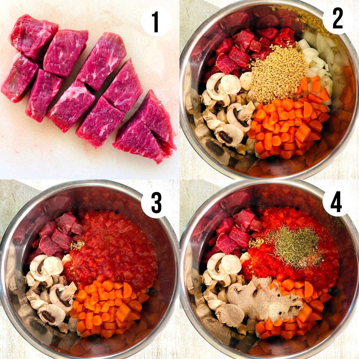 instant pot vegetable beef soup process shots 1 through 4