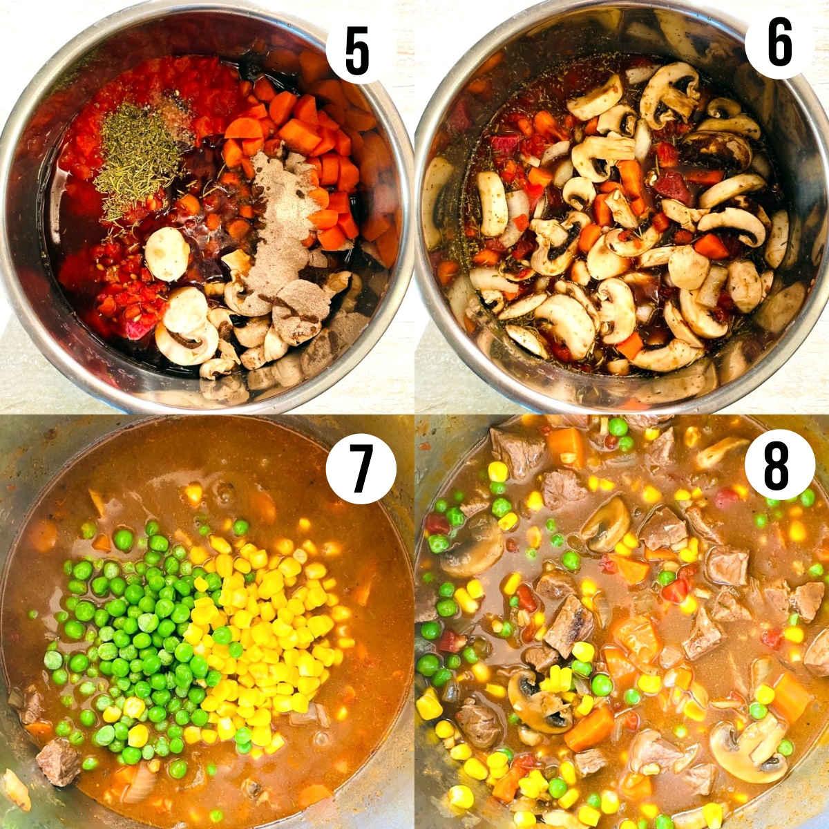 instant pot vegetable beef soup process shots 5 through 8