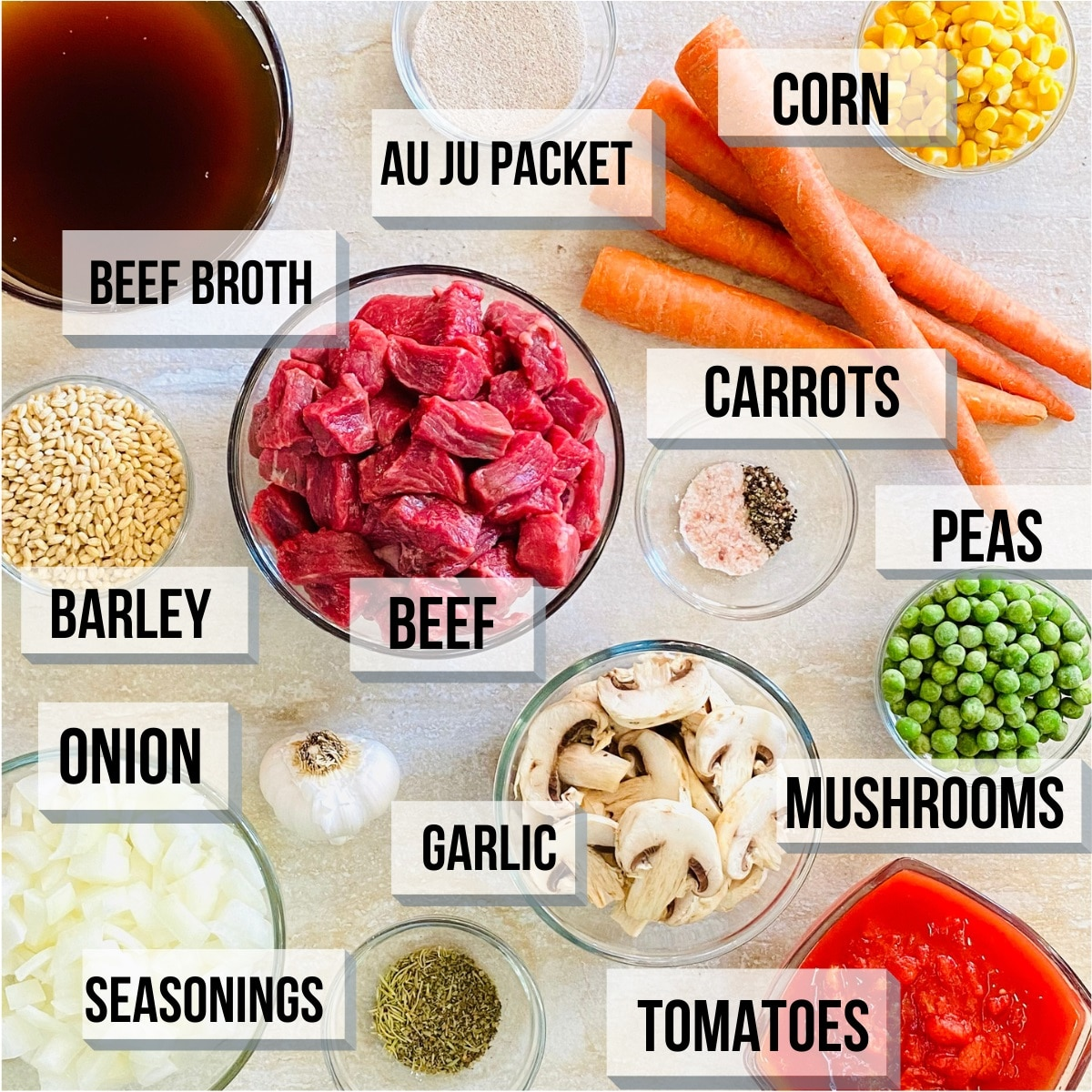labeled photo of individual ingredients to make instant pot vegetable beef soup