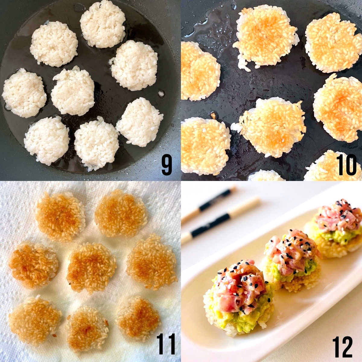 spicy tuna crispy rice process shots 9 through 12