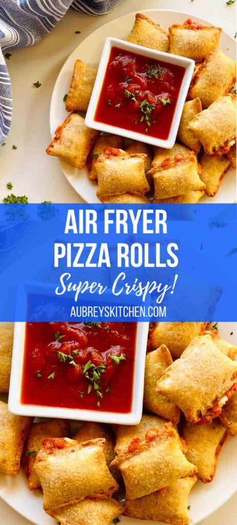 Air fryer pizza rolls on plate next to dish of marinara dipping sauce