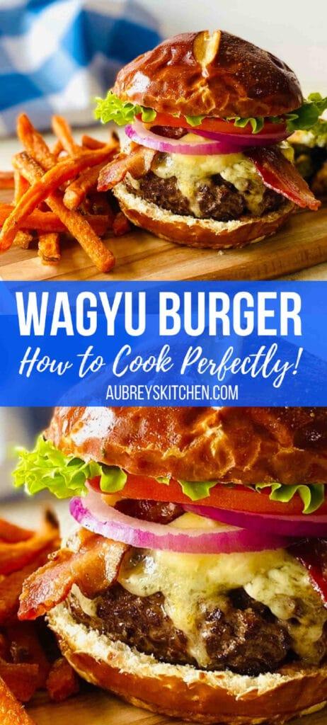 wagyu burgers on cutting board next to sweet potato fries