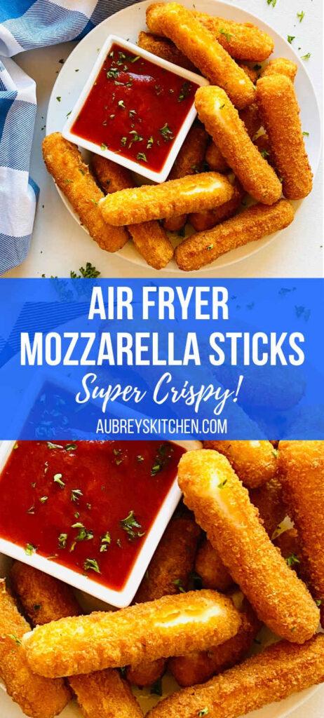 mozzarella sticks on a white pate next to a side dish or marinara sauce and a blue napkin