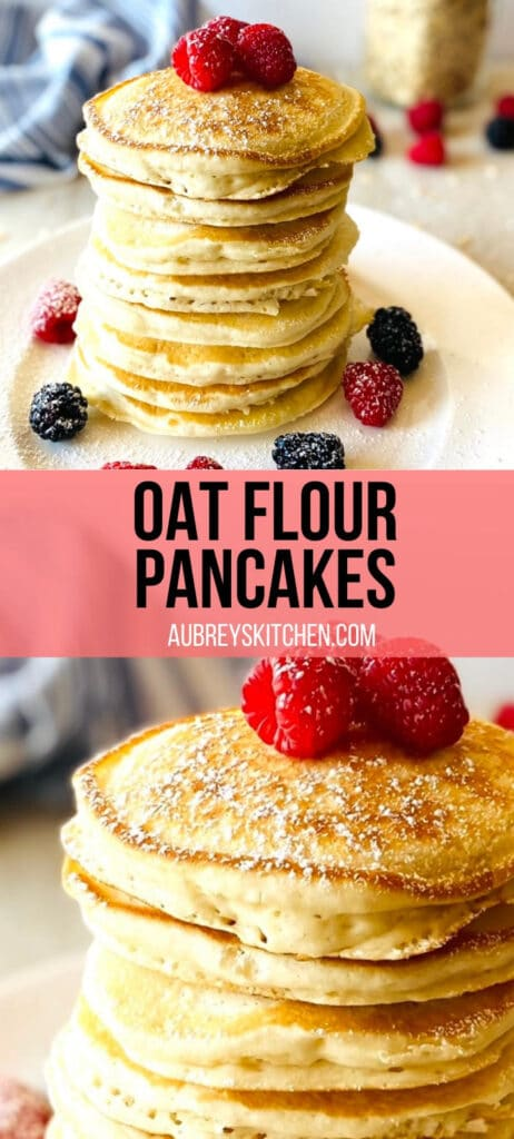 oat flour pancakes on a plate topped with fresh berries