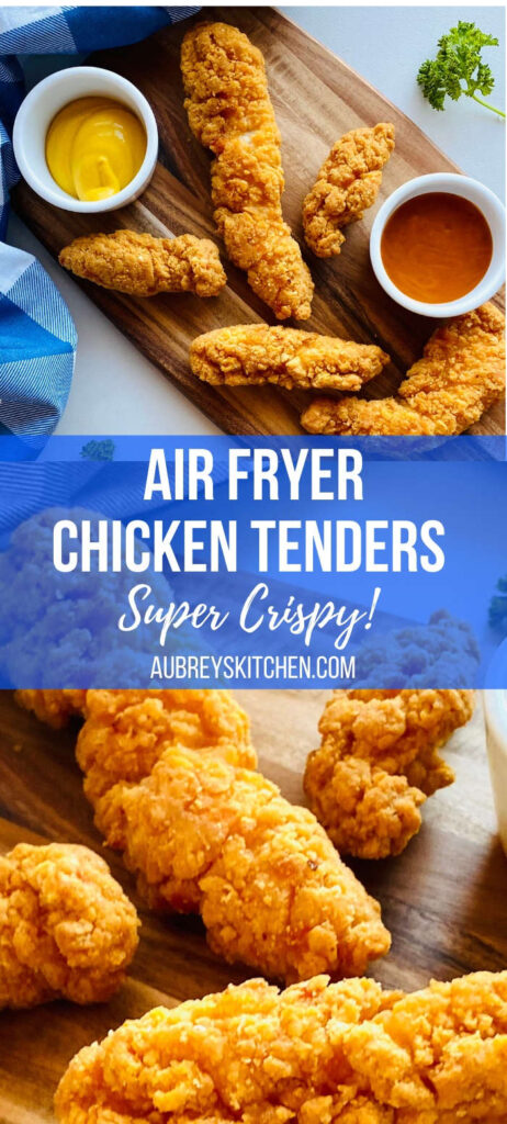 air fryer frozen chicken tenders on wooden board next to dipping sauces