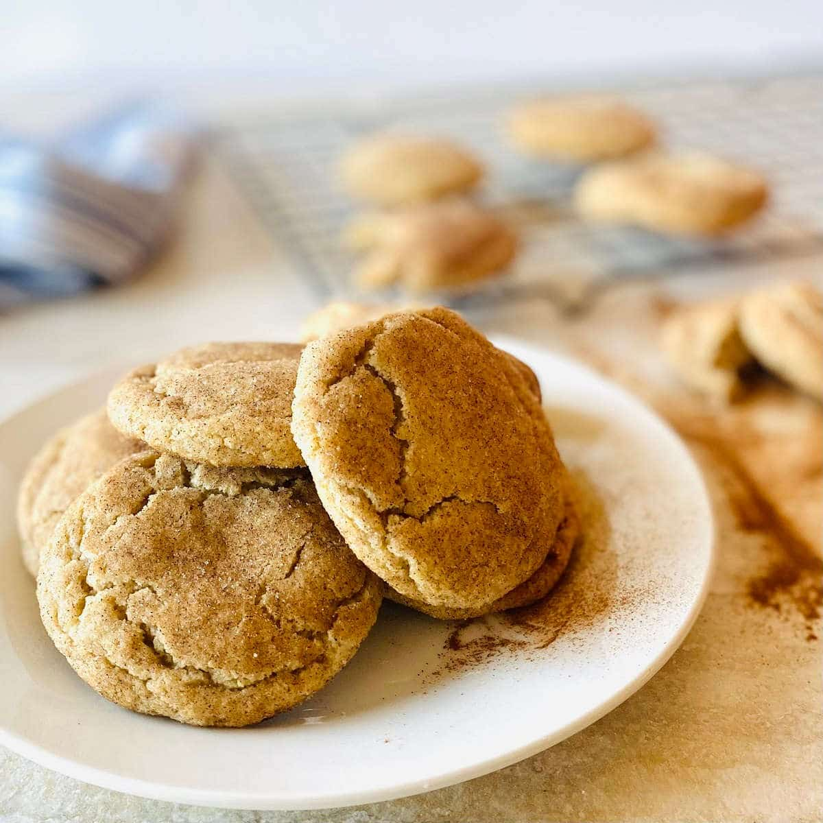 easy snickerdoodle recipe without cream of tartar on white plate with tray of snickerdoodle cookies in background