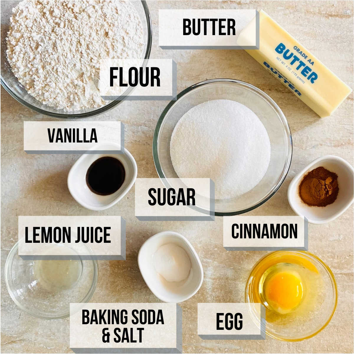 labeled photo of individual ingredients to make snickerdoodles without cream of tartar