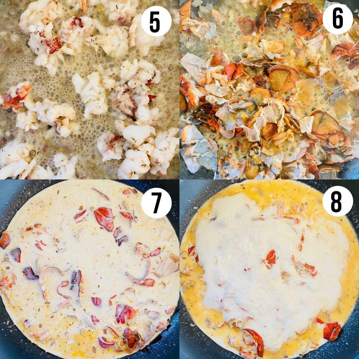 lobster ravioli sauce process shots 5-8