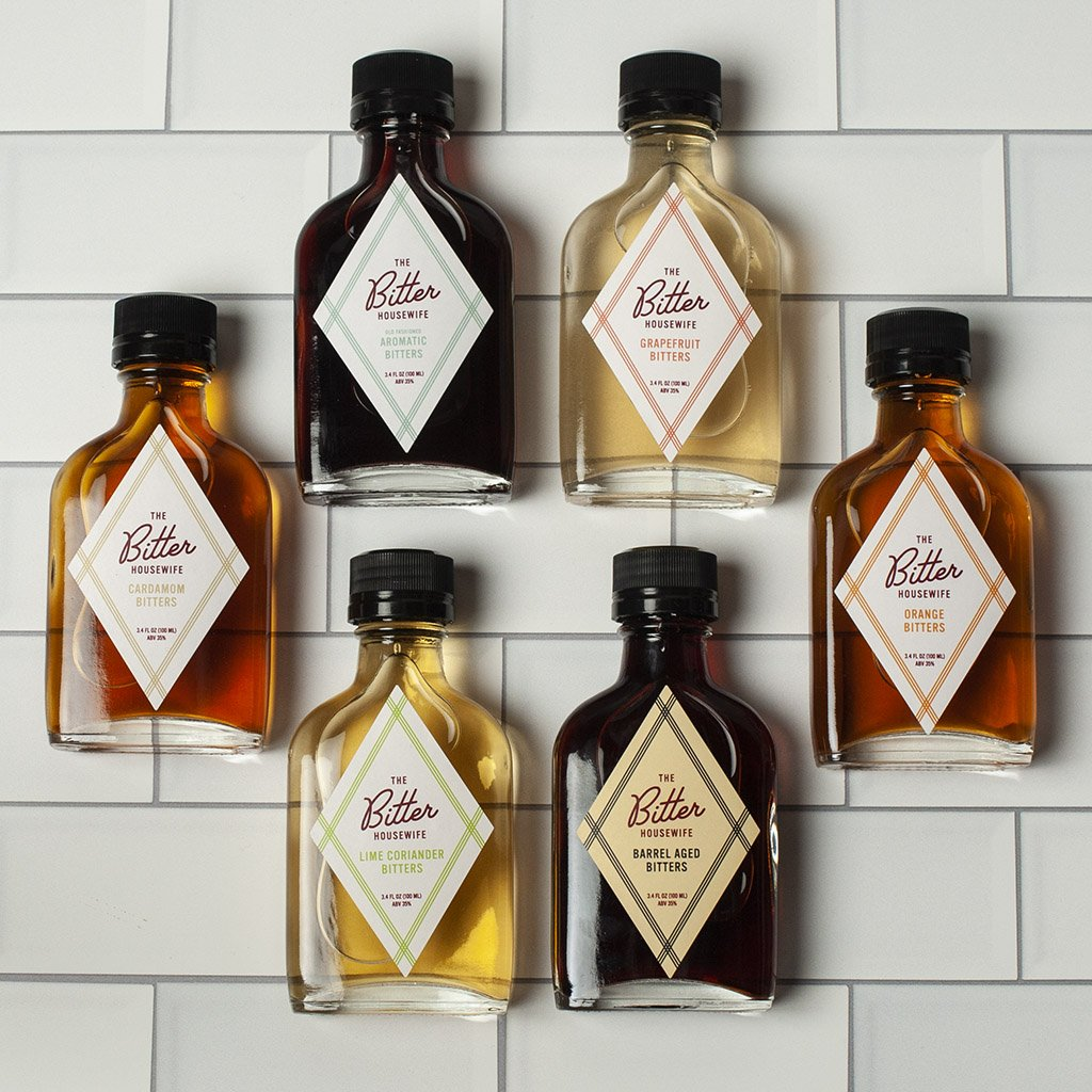pictures of 6 flavors of bitter housewives cocktail bitters