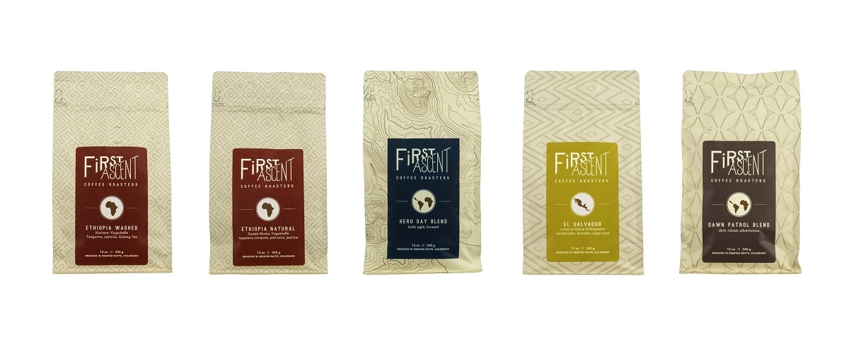 5 bags of different flavors of first ascent coffee