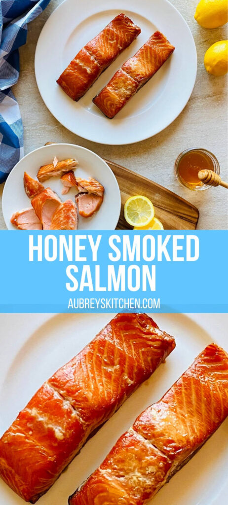 honey glazed smoked salmon on a plate next to honey and lemons