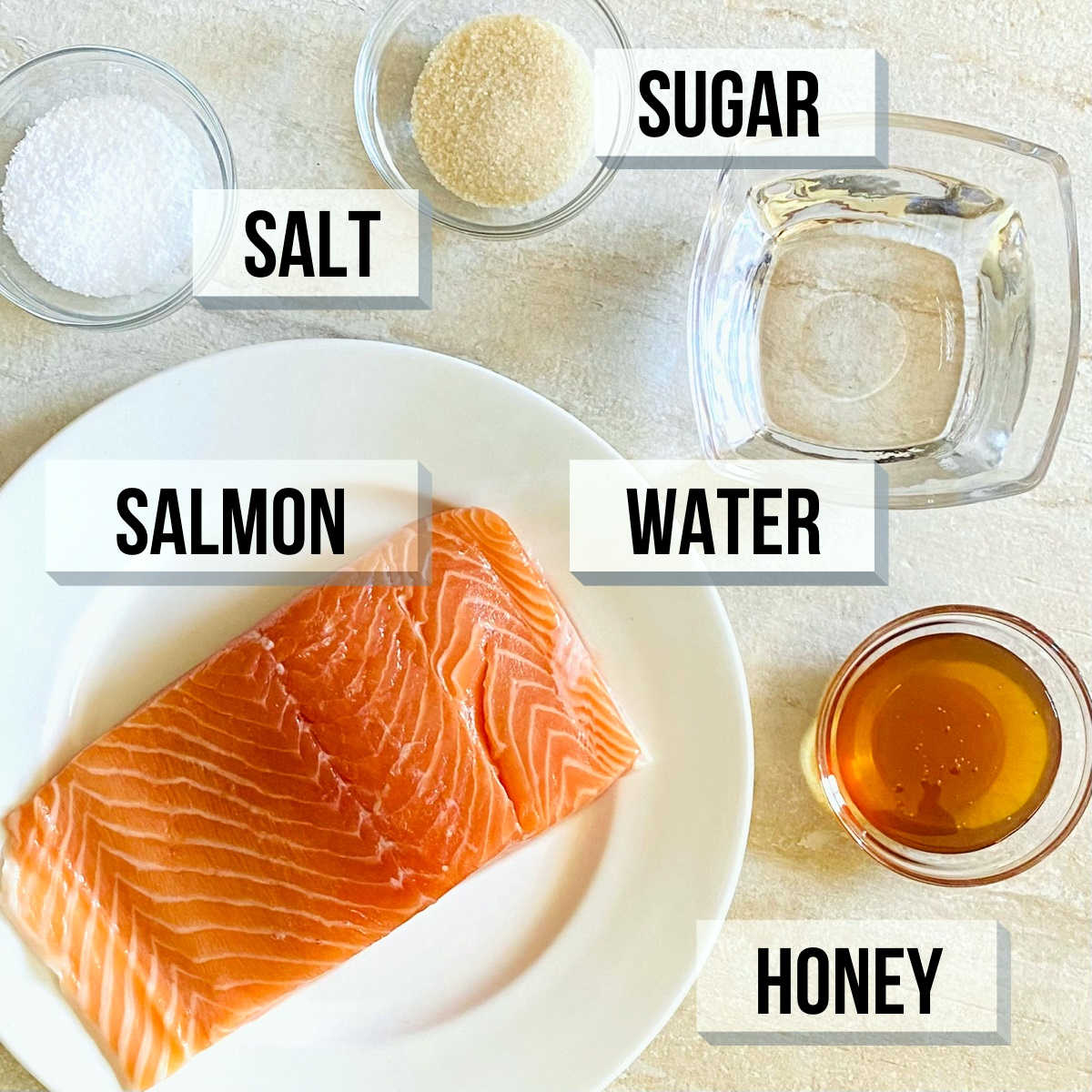 labeled photo of individual ingredients to make honey smoked salmon