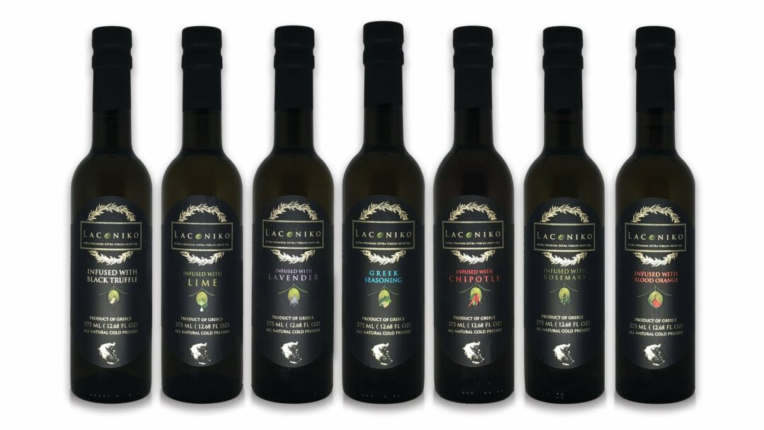 7 bottles of flavors of laconiko infused olive oil