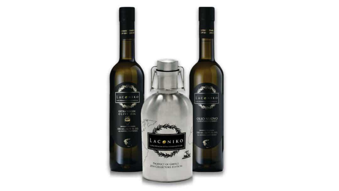 3 bottles of laconiko olive oil varieties